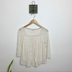 Meadow Rue Anthropologie Ivory Lace Peasant Blouse
